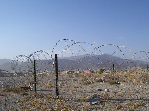 Concertina wire in Afghanistan