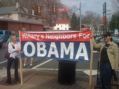 """Hillary's neighbors for Obama"" sign"