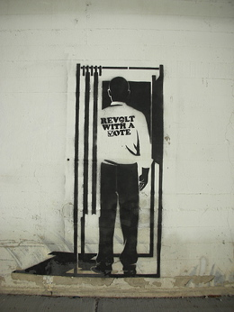 """Revolt with a vote"" stencil"