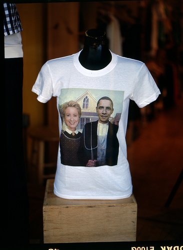 Clinton and Obama in American Gothic parody