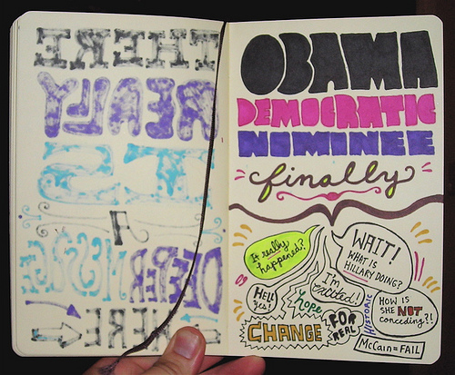 Doodle about Obama securing nomination