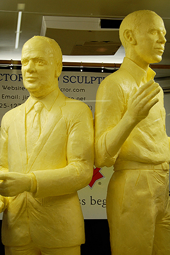 Butter statues of McCain and Obama