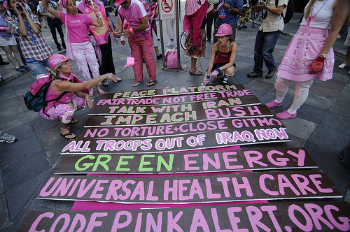Code Pink protesters with sign
