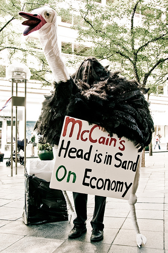 Anti-McCain protester dressed as ostrich