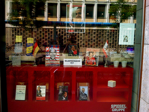 Obama books and magazines in Berlin shop window