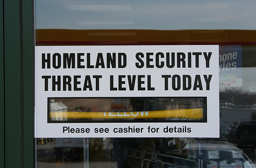 Sign showing threat level