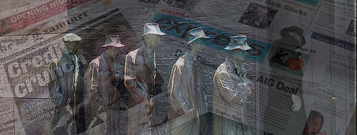 Mashup of breadline statue and newspaper headlines