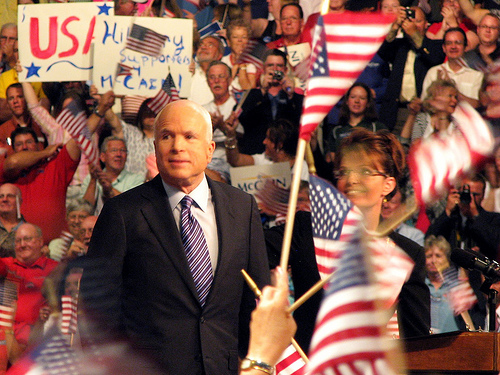 McCain and Palin at VP announcement