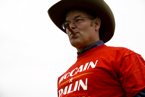 McCain supporter with cigar and cowboy hat