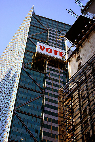 Skyscraper in NYC with Vote sign
