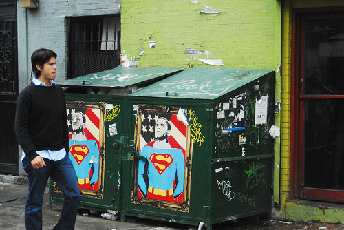 Obama as Superman street art