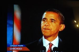 Obama speaking in Chicago