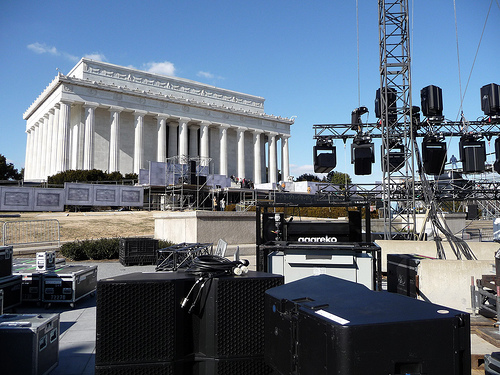 Sound equipment at Lincoln Memorial