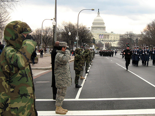 Military rehearsing inauguration